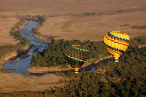 Air balloons afloat the Maasai Mara